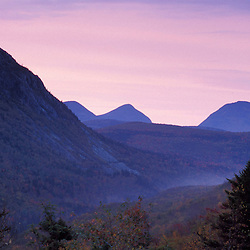 Dawn in the Zealand Valley as seen from the Appalachian Mountain Club's Zealand Falls Hut. White Mountain N.F. Pemigewasset Wilderness Area. Fall. Bethlehem, NH
