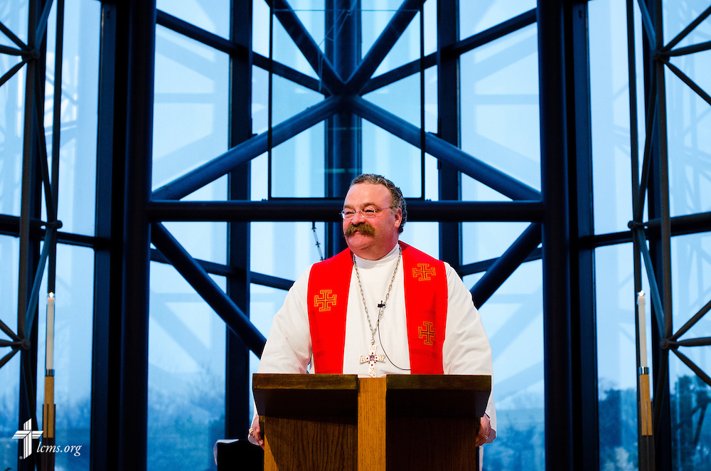 LCMS President Matthew C. Harrison preaches Friday, Feb. 14, 2014, at The Lutheran Church--Missouri Synod International Center in Kirkwood, Mo. The Rev. Dr. Daniel N. Harmelink was installed to the position of Executive Director at the Concordia Historical Institute. LCMS Communications/Erik M. Lunsford