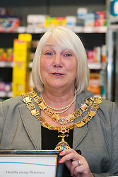 Lloyds Pharmacy Stocksbridge has achieved the status of 'Healthy Living Pharmacy'. A special accreditation for offering high levels of health screening  and advice to the local community..Mayor of Stocksbridge Susie Abrahams....04 October 2012.Image © Paul David Drabble