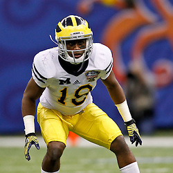 January 3, 2012; New Orleans, LA, USA; Michigan Wolverines defensive back Blake Countess (18) against the Virginia Tech Hokies during the Sugar Bowl at the Mercedes-Benz Superdome. Michigan defeated Virginia 23-20 in overtime. Mandatory Credit: Derick E. Hingle-US PRESSWIRE