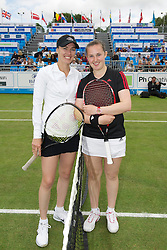 LIVERPOOL, ENGLAND - Saturday, June 18, 2011: Martina Hingis (SUI) and Chloe Murphy (GBR) before the Women's Final during day three of the Liverpool International Tennis Tournament at Calderstones Park. (Pic by David Rawcliffe/Propaganda)