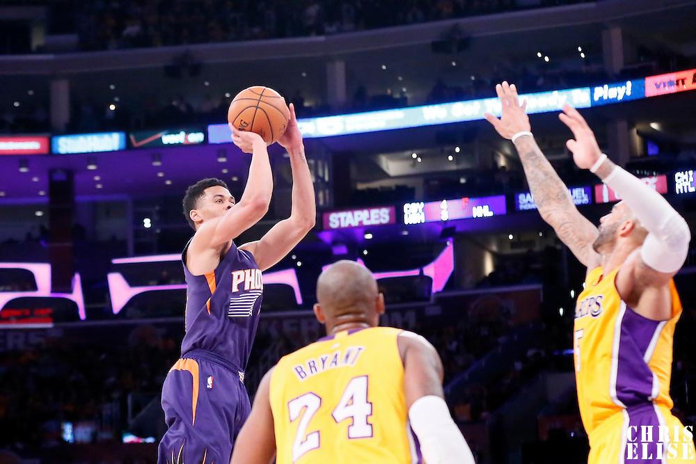 04 November 2014: Phoenix Suns guard Gerald Green (14) takes a jump shot during the Phoenix Suns 112-106 victory over the Los Angeles Lakers, at the Staples Center, Los Angeles, California, USA.
