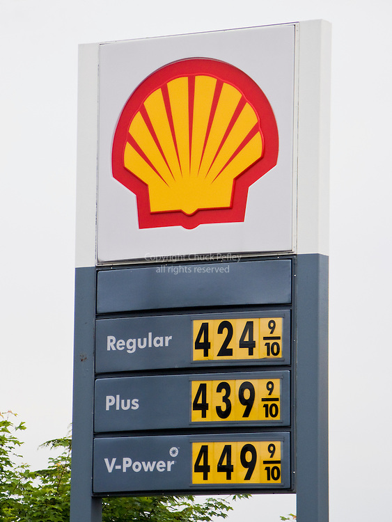 Gas prices sign, Shell Oil station, Seattle, Washington