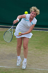LONDON, ENGLAND - Tuesday, June 29, 2010: Anne Hobbs (GBR) during the Ladies' Invitation Doubles match on day eight of the Wimbledon Lawn Tennis Championships at the All England Lawn Tennis and Croquet Club. (Pic by David Rawcliffe/Propaganda)