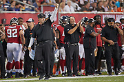 Atlanta Falcons head coach Dan Quinn during the Pro Football Hall of Fame Game at Tom Benson Hall of Fame Stadium, Thursday, Aug. 1, 2019, in Canton, OH. The Broncos defeated the Falcons 14-10. (Robin Alam/Image of Sport)