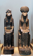Black granite statues of SekhmetFrom Karnak, Thebes, Egypt. 18th Dynasty, around 1360 BC. The Egyptian goddess Sekhmet was associated with destruction. According to myth, she was the fiery eye of Re, which he sent against his enemies. In this form she also appeared as the cobra on the brow of the king, rearing to protect him. Her name means 'she who is powerful'. She is represented as a lioness-headed woman.