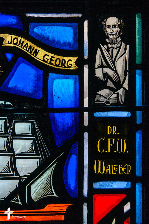 Stained glass at Luther Memorial Chapel depicts Dr. C.F.W. Walther on Friday, Jan. 29, 2016, in Shorewood, Wis. LCMS Communications/Erik M. Lunsford