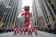 The iconic Red Mighty Morphin Power Ranger, who has been entertaining fans for more than 20 years, POWERS UP the 88th annual Macy's Thanksgiving Day Parade, Thursday, Nov. 27, 2014 in New York City. (Photo by Diane Bondareff/Invision for Power Rangers/AP Images)