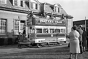 15/03/1963<br /> 03/15/1963<br /> 15 March 1963<br /> Players Tram float display. The Lord Mayor of Dublin Alderman J.J. O'Keeffe T.D. P.C., inaugurating the new Players Tram float which was to take part in the annual St. Patrick's Day N.A.I.D.A. Parade. Also in photo are: E.K. Bohane, (Left) General Manager, Players and Aodhagan Brioscu, President of the N.A.I.D.A..