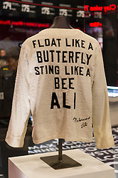 © Licensed to London News Pictures. 03/03/2016. A jacket worn by Muhammad Ali  featuring in the I Am The Greatest  - Muhammad Ali Exhibition.  Exhibition featuring more than 100 artefacts from the boxer's career, put together with the help of the Ali family, showcased to celebrate the life of the former heavyweight champion giving an insight into one of the sport's most famous personalities. London, UK. Photo credit: Ray Tang/LNP