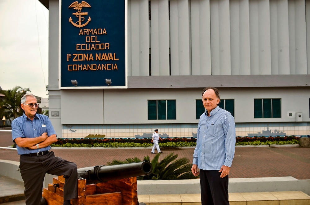 Ricardo Illingworth (left) and Juan José Illingworth (right) pose for a portrait outside of Guayquil's Navy Command. They are descendents of Admiral Juan José Illingworth, an Englishman and national hero that fought alongside Bolívar for Ecuador's independence from Spain, he also founded its naval academy and drafted the law that freed the country's slaves..The statue in Navy Park contains a coffer with the Admiral's remains. Mr. Illingworth was present a few years ago at the exhumation and was happy to see that, more than 150 years on, the old bean's bean was tip top: ?His skull was in perfect condition,? he said. And what would the admiral have thought about the conflict over Mr. Assange? ?He would have felt uncomfortable,? said Mr. Illingworth, whose retreating hairline evokes that of his ancient relative. ?Part of his heart was with England and part with Ecuador.?