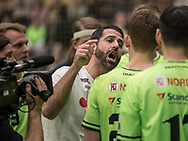 HÅNDBOLD: Cheftræner Ian Marko Fog (Nordsjælland) i time-out under kampen i 888-Ligaen mellem Nordsjælland Håndbold og TTH Holstebro den 28. marts 2018 i Helsingør Hallen. Foto: Claus Birch.