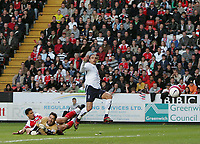 Photo: Lee Earle.<br /> Charlton Athletic v Tottenham Hotspur. The Barclays Premiership. 07/05/2007.Spurs Dimitar Berbatov (R) beats Charlton keeper Scott Carson to score the opening goal.