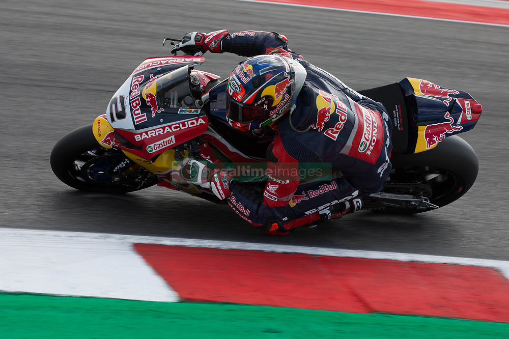 July 8, 2018 - Misano, RN, Italy - Leon Camier of Red Bull Honda Worls Superbike Team during race 2 of the Motul FIM Superbike Championship, Riviera di Rimini Round, at Misano World Circuit ''Marco Simoncelli'', on July 08, 2018 in Misano, Italy  (Credit Image: © Danilo Di Giovanni/NurPhoto via ZUMA Press)