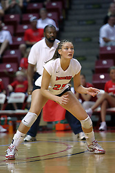 28 September 2008: Peggy Riessen  prepares for a serve from the Braves. The Braves took the first set, but the Illinois State Redbirds grabbed 3 sets in a row to win the match 3 sets to 1. The Bradley Braves visited the Illinois State Redbirds at Redbird Arena on the campus of Illinois State University in Normal Illinois.