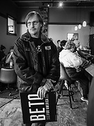 04 APRIL 2019 - CARROLL, IOWA:  CHRIS KUEHNHOLD, from Lawrenceburg, TN, waits for Beto O'Rourke to arrive at a meet and greet campaign event. Kuehnhold, originally from Iowa, said he was looking at what all of the Democratic candidates had to offer but that he was still undecided. Beto O'Rourke stopped at Kerps Tavern in Carroll, IA, to campaign for president Thursday. He is crisscrossing Iowa through the weekend with stops throughout the state. Iowa holds its caucuses, considered the kickoff of the US Presidential campaign, on Feb. 3, 2020.    PHOTO BY JACK KURTZ