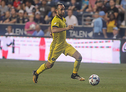 July 26, 2017 - Chester, PA, United States of America - Columbus Crew SC Midfielder JUSTIN MERAM (9) dribbles the ball up the field in the first half of a Major League Soccer match between the Philadelphia Union and Columbus Crew SC Wednesday, July. 26, 2017, at Talen Energy Stadium in Chester, PA. (Credit Image: © Saquan Stimpson via ZUMA Wire)