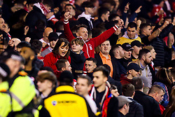 Nottingham Forest fans celebrate their side's win over Derby County - Mandatory by-line: Robbie Stephenson/JMP - 25/02/2019 - FOOTBALL - The City Ground - Nottingham, England - Nottingham Forest v Derby County - Sky Bet Championship