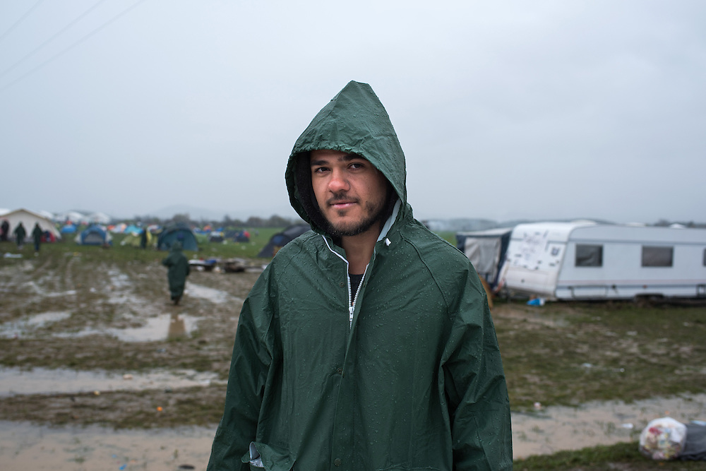 Zakria Al Ali, 22 yo from Aleppo in the transit camp of Idomeni, Greece. <br /> <br /> Thousands of refugees are stranded in Idomeni unable to cross the border. The facilities are stretched to the limit and the conditions are appalling.