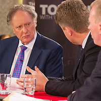 Vincent Browne and Clare TD's Michael McNamara (Labour) and TImmy Dooley (Fine Fail) during the People's Debate at the Auburn Lodge Hotel on Friday 16th January