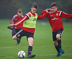 NEWPORT, WALES - Monday, November 2, 2015: Wales' Dylan Levitt and Sam Bowen during a training session ahead of the Under-16's Victory Shield International match at Dragon Park. (Pic by David Rawcliffe/Propaganda)