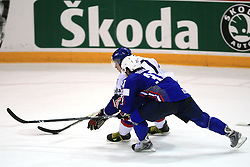 Ivan Ciernik of Slovakia and Mitja Robar of Slovenia at ice-hockey game Slovenia vs Slovakia at second game in  Relegation  Round (group G) of IIHF WC 2008 in Halifax, on May 10, 2008 in Metro Center, Halifax, Nova Scotia, Canada. Slovakia won after penalty shots 4:3.  (Photo by Vid Ponikvar / Sportal Images)