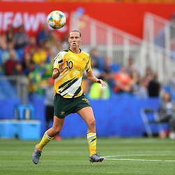 Emily Van Egmond of Austalia during the Women's World Cup match between Australia and Brazil at Stade de la Mosson on June 13, 2019 in Montpellier, France. (Photo by Alexandre Dimou/Icon Sport)