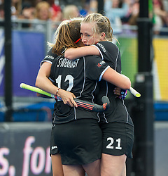 Germany's Charlotte Stapenhorst celebrates scoring with Franzisca Hauke. Germany v Spain - 3rd/4th Playoff Unibet EuroHockey Championships, Lee Valley Hockey & Tennis Centre, London, UK on 30 August 2015. Photo: Simon Parker