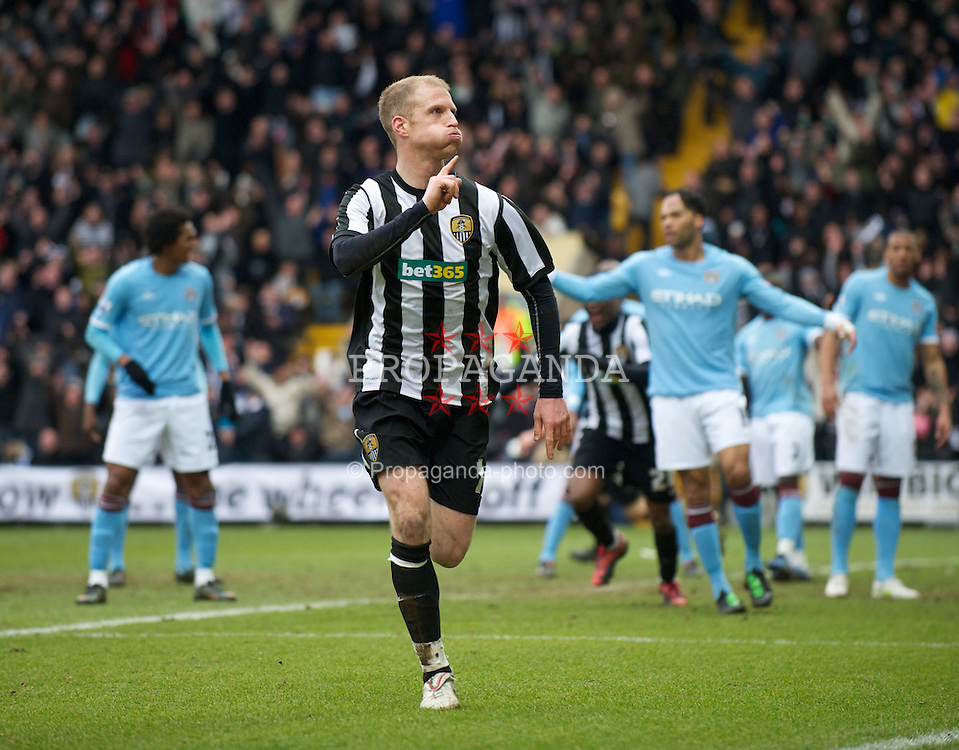 NOTTINGHAM, ENGLAND - Sunday, January 30, 2011: Notts County's Neal Bishop celebrates scoring the first goal against Manchester City during the FA Cup 4th Round match at Meadow Lane. (Photo by David Rawcliffe/Propaganda)