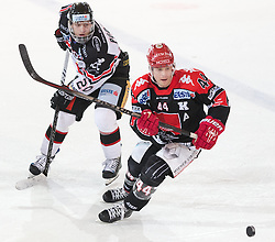 13.12.2015, Tiroler Wasserkraft Arena, Innsbruck, AUT, EBEL, HC TWK Innsbruck die Haie vs HC Orli Znojmo, 30. Runde, im Bild vl.: Martin Podesva (HC Orli Znojmo), Jeff Ulmer (HC TWK Innsbruck Die Haie) // during the Erste Bank Icehockey League 30th round match between HC TWK Innsbruck  die Haie and HC Orli Znojmo at the Tiroler Wasserkraft Arena in Innsbruck, Austria on 2015/12/13. EXPA Pictures © 2015, PhotoCredit: EXPA/ Jakob Gruber