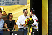 Podium Tom Dumoulin (NED - Team Sunweb) winner with Miguel Indurain during the 105th Edition of Tour de France 2018, cycling race stage 20, time trial, Saint Pee sur Nivelle - Espelette (31 km) on July 28, 2018 in Espelette, France - Photo Luca Bettini / BettiniPhoto / ProSportsImages / DPPI