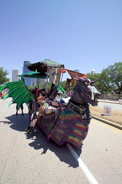 Stock photo of a dragon shaped boat car