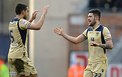Leeds United's Alex Mowatt celebrates scoring the first goal with team-mate Giuseppe Bellusci (R)- Photo mandatory by-line: Richard Martin-Roberts/JMP - Mobile: 07966 386802 - 07/03/2015 - SPORT - Football - Wigan - DW Stadium - Wigan Athletic v Leeds United - Sky Bet Championship
