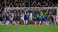 Football - 2019 / 2020 UEFA Champions League - Group H: Chelsea vs. Ajax<br /> <br /> Andre Onana (Ajax FC) stretches as he reacts to the goalbound header from Kurt Zouma (Chelsea FC) at Stamford Bridge <br /> <br /> COLORSPORT/DANIEL BEARHAM