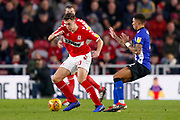 Middlesbrough defender Dael Fry (20) in action  during the EFL Sky Bet Championship match between Middlesbrough and Sheffield Wednesday at the Riverside Stadium, Middlesbrough, England on 26 December 2018.
