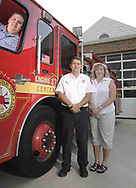 (from left) Firefighter Josh Gaul with parents Captain Mark Gaul  and Retired Paramedic/Firefighter Sharon Gaul at Washington Township Fire Station 43, Tuesday August 7, 2007.