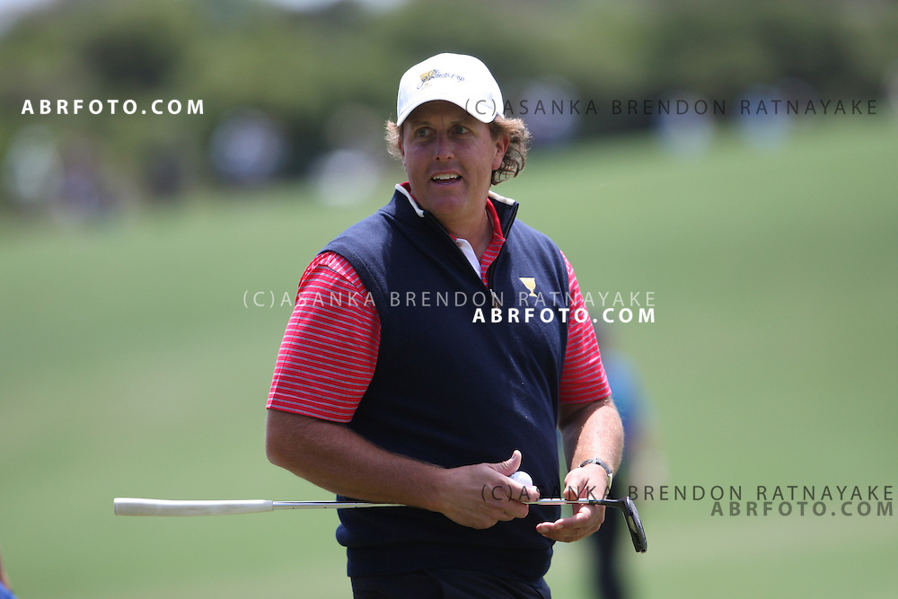 20 November 2011 : Phil Mickelson looks towards the crowd during the fifth-round Sunday Final round single ball matches at the Presidents Cup at the Royal Melbourne Golf Club in Melbourne, Australia. .