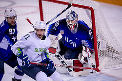 GANGNEUNG, SOUTH KOREA - FEBRUARY 14:  goaltender Ryan Zapolski #30 of the United States, defenseman Matt Gilroy #97 of the United States during Ice Hockey match between Slovenia and USA in the Men's Ice Hockey Preliminary Round Group B at Gangneung Hockey Centre on February 14, 2018 in Gangneung, South Korea. Photo by Ronald Hoogendoorn / Sportida
