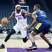 Reno Bighorns Forward JAKARR SAMPSON (29) drives against Salt Lake City Stars Forward ERICK MCCREE (2) during the NBA G-League Basketball game between the Reno Bighorns and the Salt Lake City Stars at the Golden 1 Center, Sacramento, California