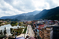 A view over the small mountain town of Sapa in northern Vietnam.