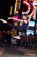 Times Square At Night Dance As Art New York Photography Project with Ballerina Cassandra Martin