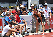 Kevin Mayer (FRA) talks with coach Bertrand Valcin during the decathlon at the DecaStar meeting, Saturday, June 23, 2019, in Talence, France. (Jiro Mochizuki/Image of Sport)