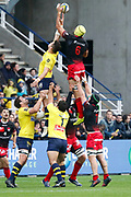 Virgile Bruni to LOU, Liam Gill to LOU, Etienne Falgoux to ASM during the French championship Top 14 Rugby Union match between ASM Clermont and Lyon OU on November 18, 2017 at Marcel Michelin stadium in Clermont-Ferrand, France - Photo Romain Biard / Isports / ProSportsImages / DPPI