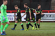 Forest Green Rovers Liam Shephard(2) scores a goal 1-0 and celebrates during the EFL Sky Bet League 2 match between Stevenage and Forest Green Rovers at the Lamex Stadium, Stevenage, England on 26 January 2019.