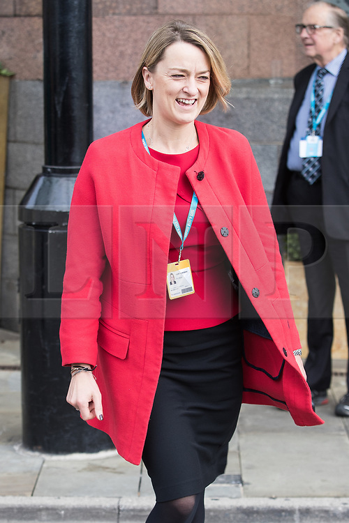 © Licensed to London News Pictures  . 03/10/2017 . Manchester , UK . BBC politics journalist LAURA KUENSSBERG leaves the Midland Hotel , on day three of the Conservative Party Conference at the Manchester Central Convention Centre . Photo credit : Joel Goodman/LNP