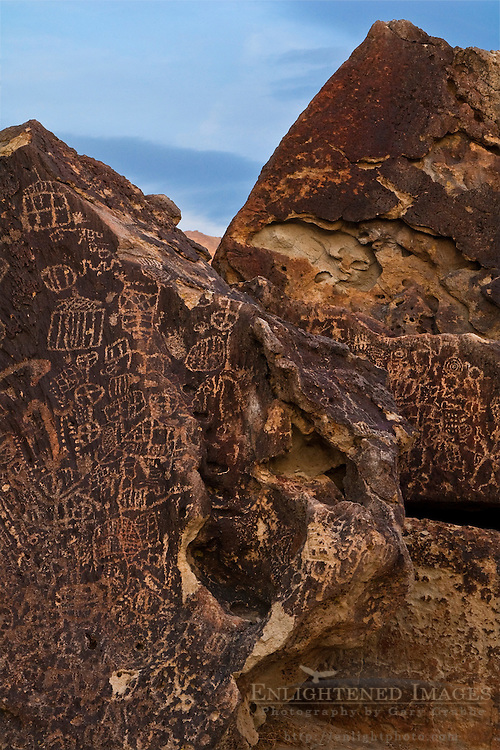 Native American petroglyphs at Newspaper Rock, Volcanic Tablelands, near Bishop, California