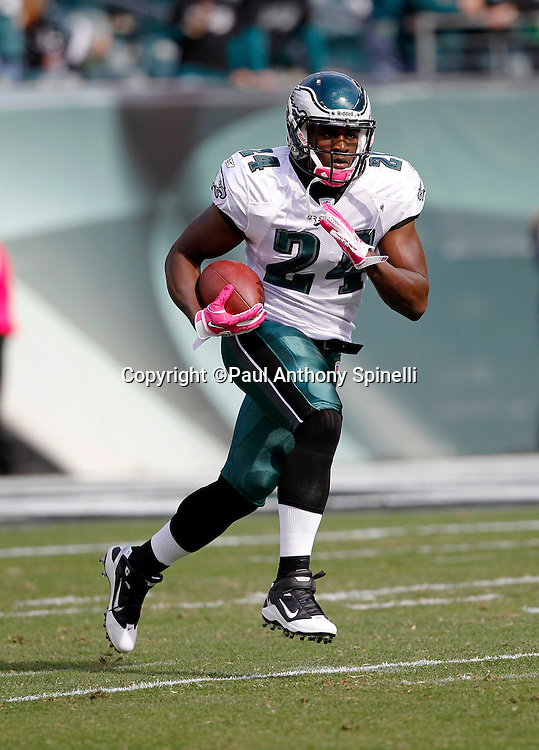 Philadelphia Eagles running back Joique Bell (24) runs the ball during the NFL week 6 football game against the Atlanta Falcons on Sunday, October 17, 2010 in Philadelphia, Pennsylvania. The Eagles won the game 31-17. (©Paul Anthony Spinelli)