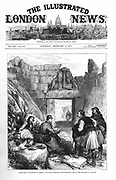Schliemann's excavations at Mycenae. 'Illustrated London News' artist sketching in front of the Lion gateway at Myceneae 1877. Engraving.
