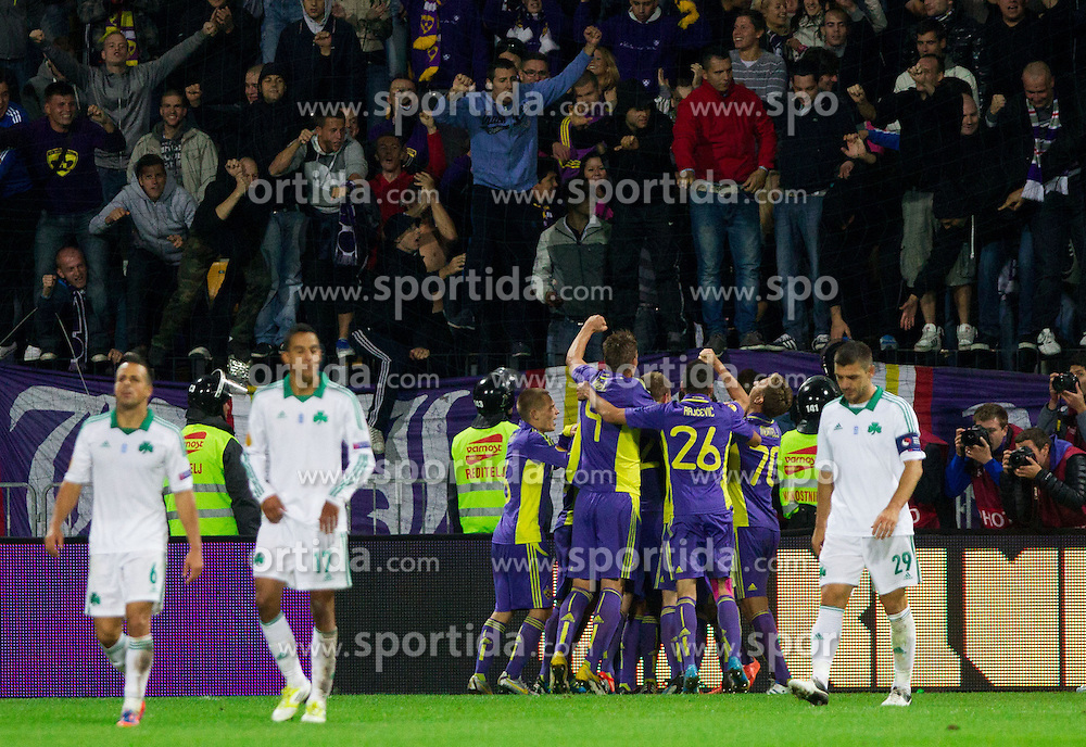 Players of Maribor celebrate after third  during football match between NK Maribor and Panathinaikos Athens F.C. (GRE) in 1st Round of Group Stage of UEFA Europa league 2013, on September 20, 2012 in Stadium Ljudski vrt, Maribor, Slovenia. Maribor defeated Panathinaikos 3-0. (Photo By Vid Ponikvar / Sportida)