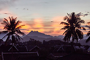 Laos, sunset over Luang Prabang.